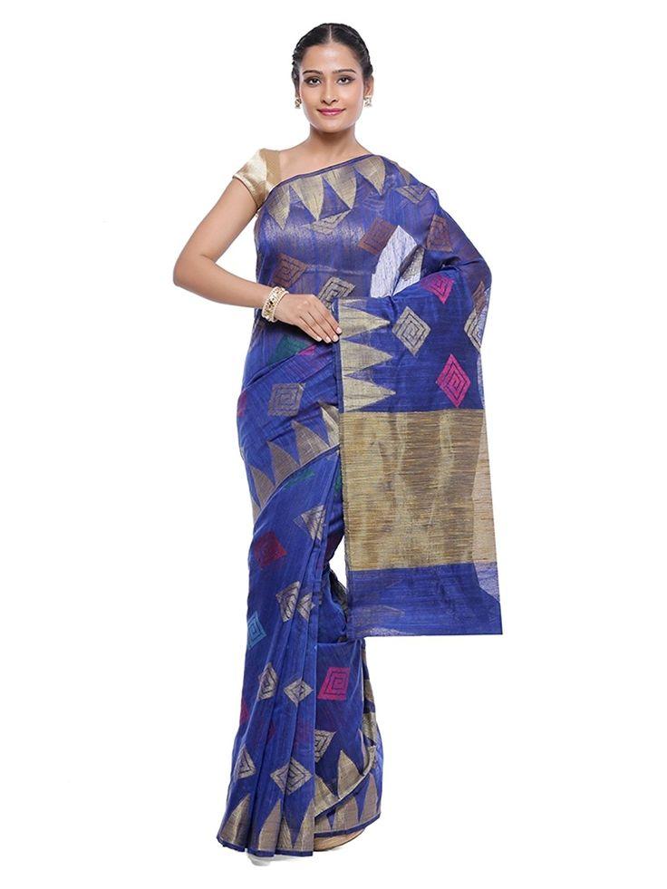 Banarasi Silk Works Partywear designer Blue Colour Sarees for Women's: Amazon.in: Clothing & Accessories