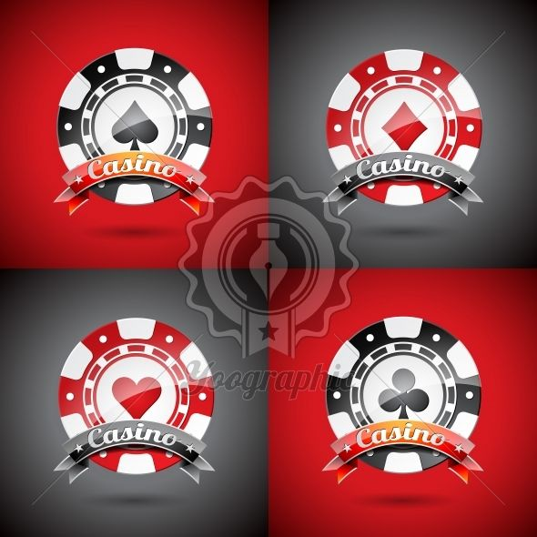 Vector illustration on a casino theme with playing chips set. - Royalty Free Vector Illustration