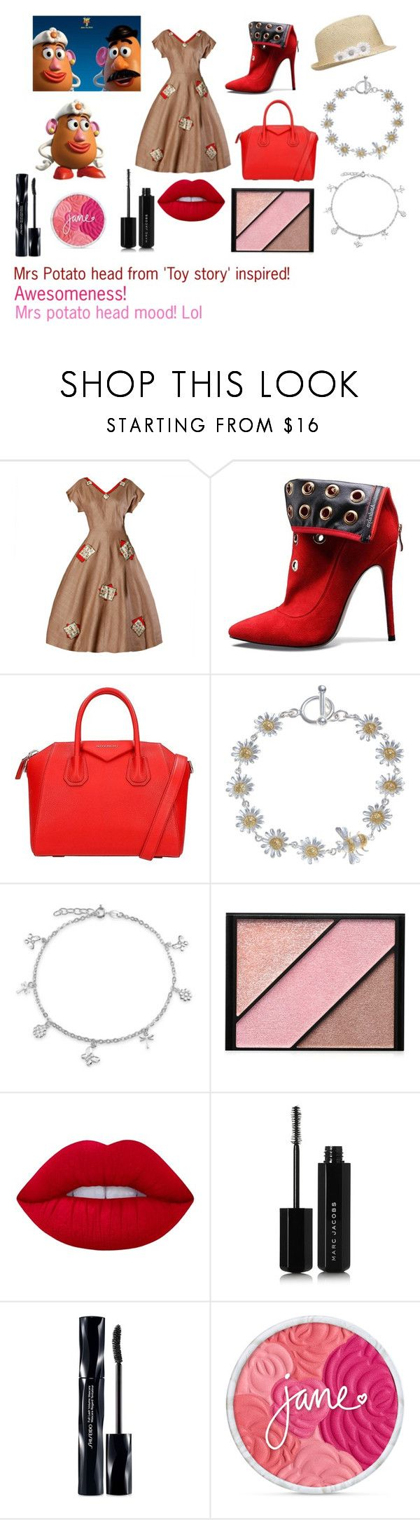"""For Scarlett (friend) - Scarlett's ideal wardrobe by me: Mrs potato head from 'Toy story' inspired!"" by sarah-m-smith ❤ liked on Polyvore featuring Givenchy, Martick, Bling Jewelry, Elizabeth Arden, Lime Crime, Marc Jacobs, Shiseido and plus size dresses"