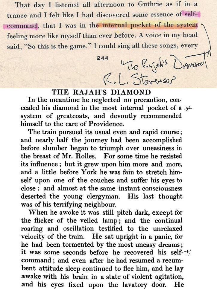 "Bob Dylan conceals ""The Rajah's Diamond"" on page 244 of Chronicles: Volume One."