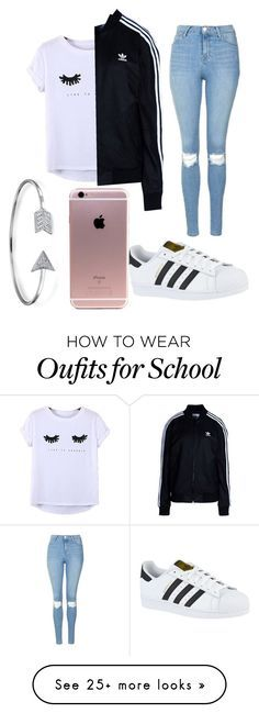 School outfit by lifesghghgaver on Polyvore featuring adidas, Chicnova Fashion, Topshop, adidas Originals and Bling Jewelry