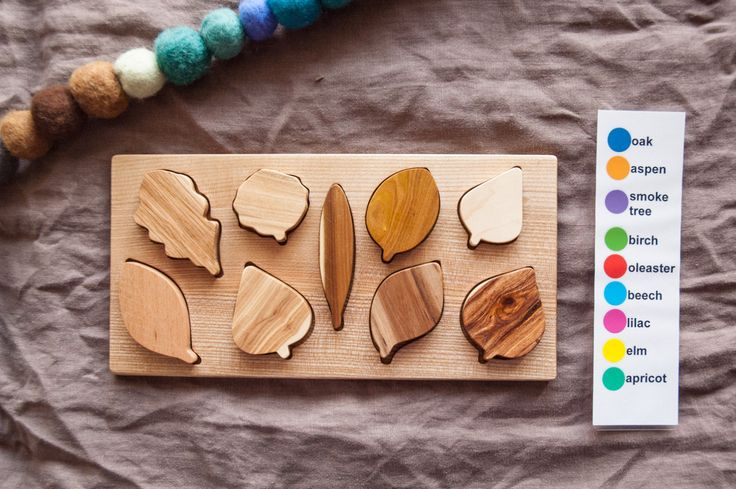 Wooden Leaf Puzzle / Montessori Toy /Organic Toy/ Educational Toy/ Toddler Development Wood Toy/ Natural Wood Baby Toy by MamumaBird on Etsy