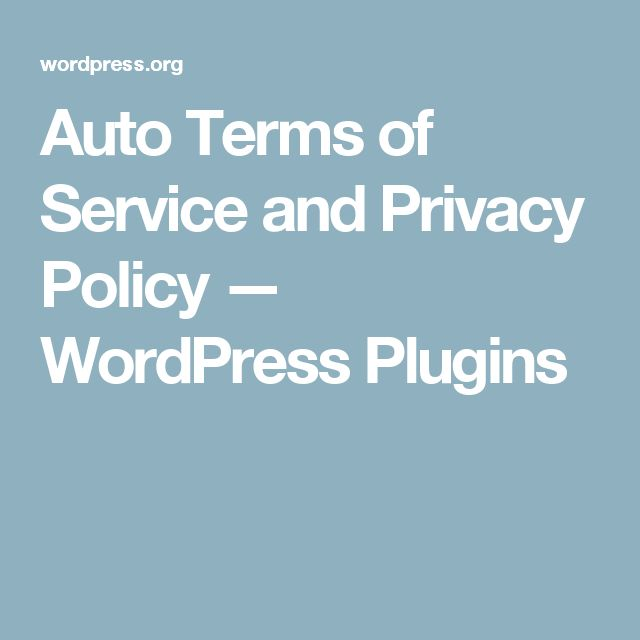 Auto Terms of Service and Privacy Policy — WordPress Plugins