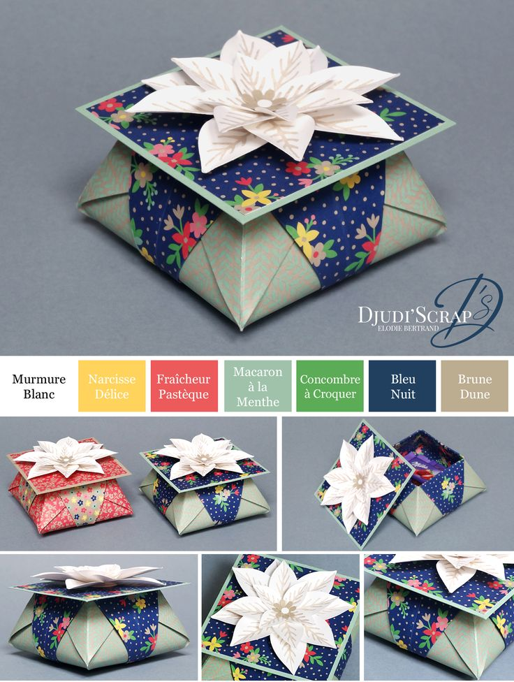 "Djudi'Scrap Stampin'Up! - Tutoriel Boîtes Cadeaux Origami ""Perforatrice Fleur Festive en Kit / Festive Flower Builder Punch"""