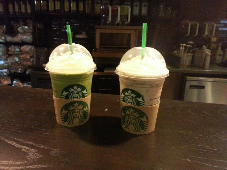 Andes mint frap(left)     -3 scoops matcha    -1 pump peppermint Captain crunch frap (right)    -strawberries and cream frap    -2 pumps toffee nut