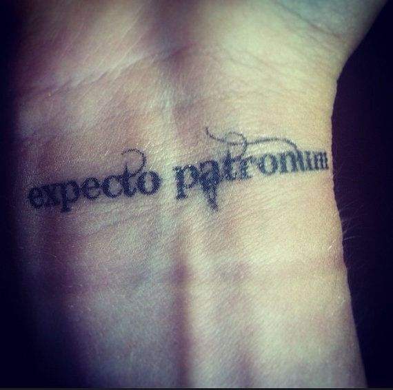 Expecto Patronum Temporary Tattoo 2 inches by CrookedHaloDesigns, $4.00