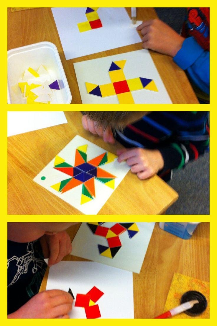 Symetrische patronen naleggen en plakken met mozaïek.#meetkunde#vormen en figuren via obs_koppel