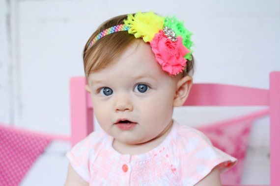 Neon Baby Headband, Infant Headband, Newborn Headband, Shabby Chic Headband Triple Rosettes Neon Lime, Yellow, and Pink on Chevron Elastic