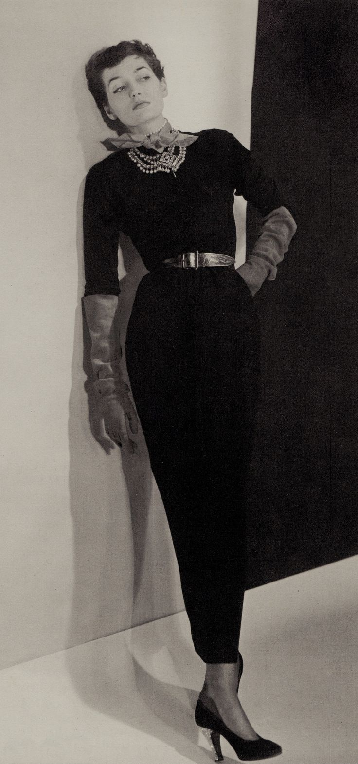 MAXIME de la FALAISE 1950. She has always dressed for flair and elegance with simplicity. From 'The Women we wanted to Look Like' Brigid Keenan 1977.