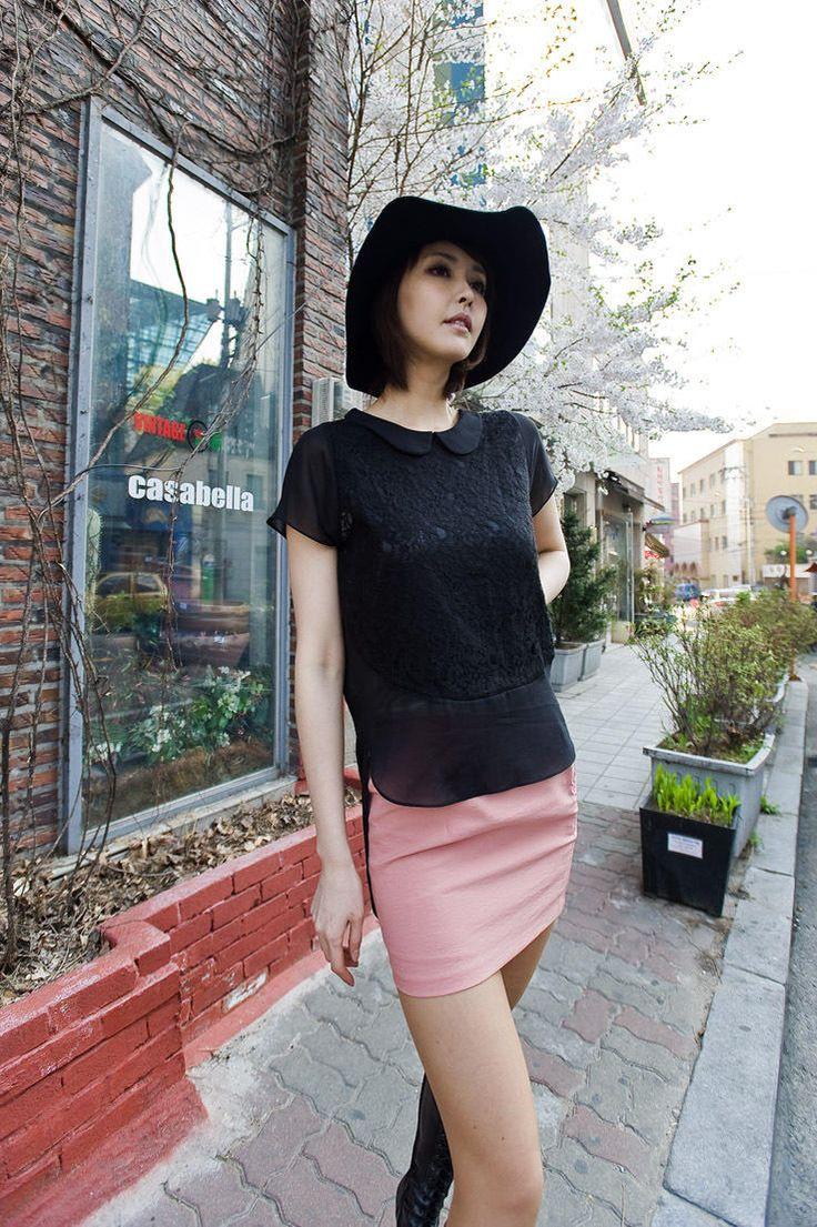 unbalance lace pattern point collar blouse from Kakuu Basic. Saved to Kakuu Basic Blouses & Shirts.