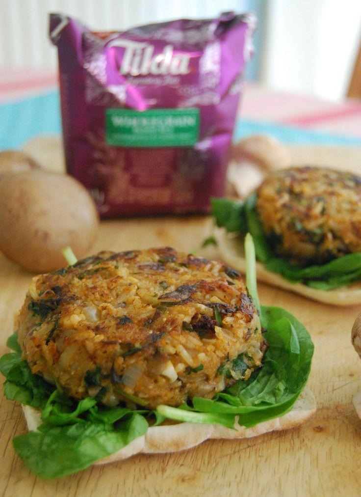 Mushroom and Rice Veggie Burger and a Tilda Rice