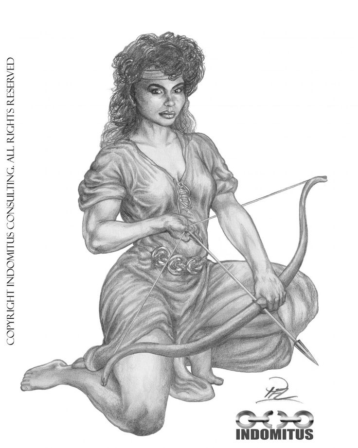 Kati trains archery sketch. Inspiration Rebecca Ferratti. See original in https://indomitus.blog/2017/04/02/fran-de-glomda-arkiven-kati-spanner-bagen/