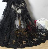 1 Yard 140 cm Breedte Topkwaliteit Mode Jurk Materiaal Borduurwerk Zwart Zware…