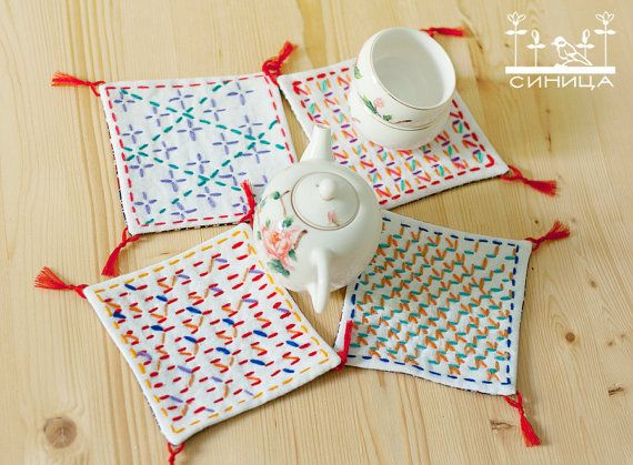 Hey, I found this really awesome Etsy listing at https://www.etsy.com/listing/106754526/set-of-4-white-sashiko-embroidery-cup