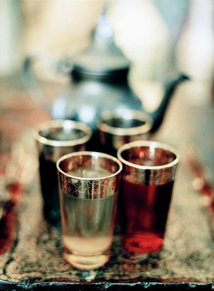 Gold plated Moroccan tea glasses on a hammered brass tray. #Mint #Tea #Morocco.