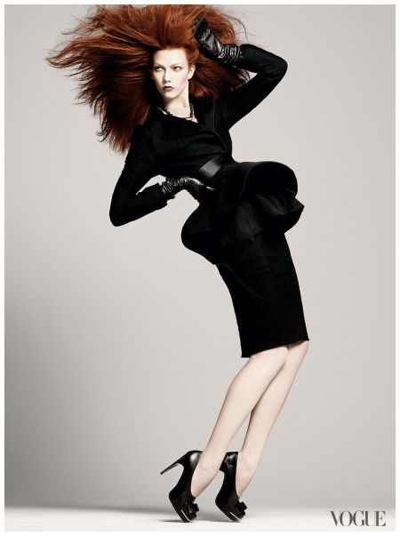 A redheaded Karlie Kloss photographed by David Sims for Vogue
