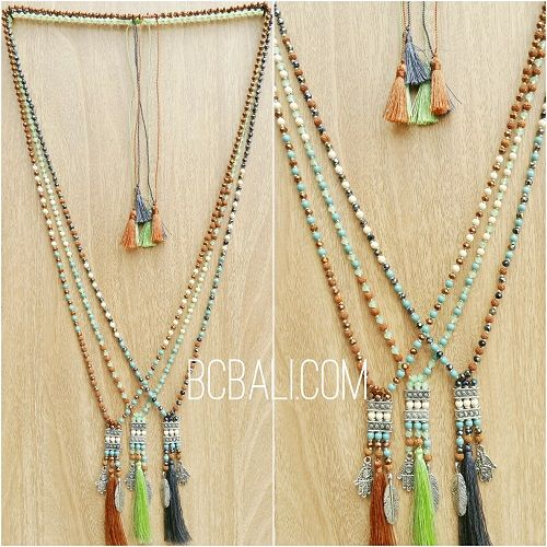 crystal beads tassels charms caps necklaces three color - crystal beads tassels charms caps necklaces three color