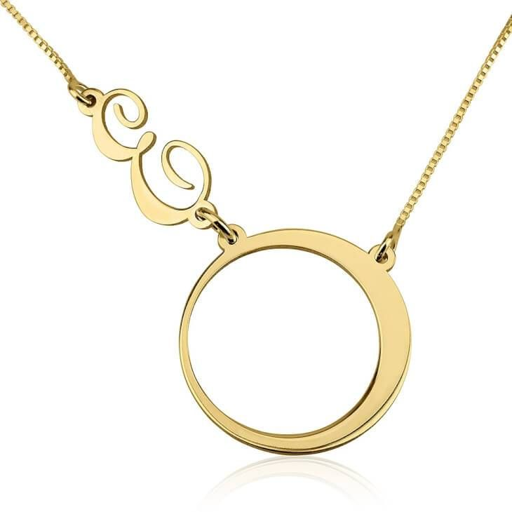 24k Gold Plated Circle and Initial Charm Necklace