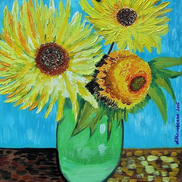 """Sunflowers""🌻. Inspired by #VanGogh Acrylic on canvas. 🎨  I will recreate this beautiful Van Gogh piece by hand so you can enjoy it in your own home. Display it in your own house or office to brighten up any room. It will make a great gift, too🎁. 16"" x 20"". 40 x 50cm. Made to order. CAD180  To order this lovely piece go to www.CaramelArtGallery.etsy.com or contact me directly! ☎️ .  .  ""Подсолнухи""🌻 в технике Винсента Ван Гога. На создание данного произведения меня вдохновила картина…"