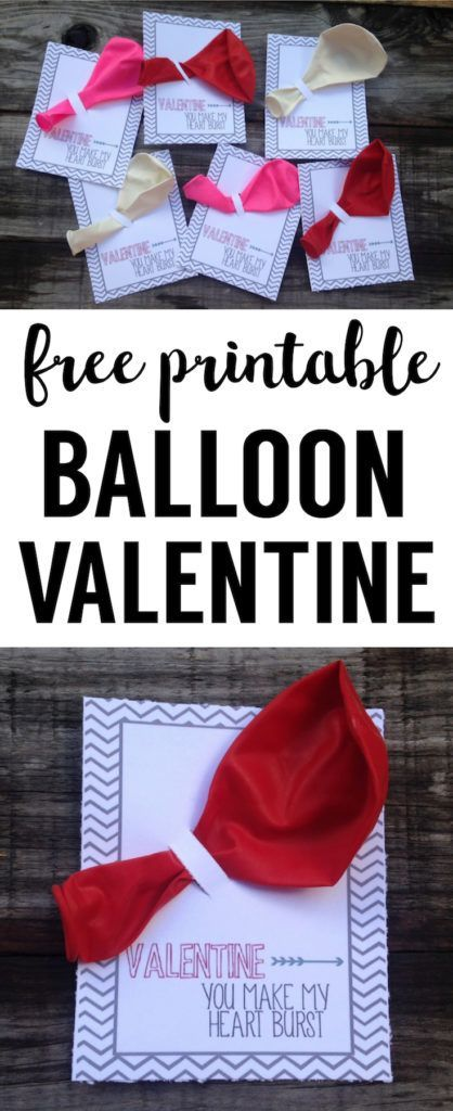 Balloon Valentine Printable DIY Valentine for school valentine exchanges. Easy Valentine idea for kids valentine. They are even cuter with heart shaped balloons!