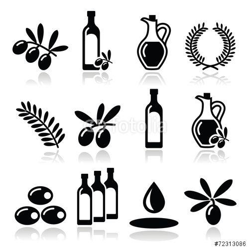 Вектор: Olive oil, olive branch icons set