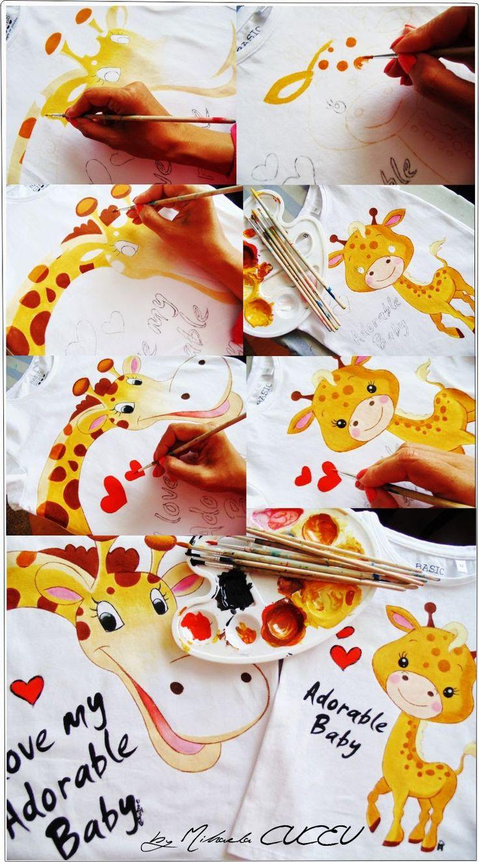 Giraffe - pictura manuala tricouri set mama si fiica!
