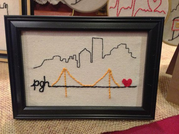 Pittsburgh Skyline City of Bridges Embroidery by wehaveheart, $25.00