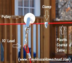 Tiny House Homestead: Zip Line Your Dog For Safety