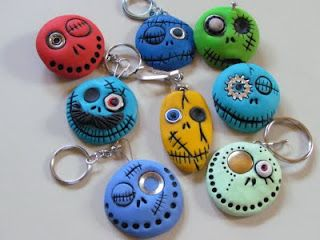 Cute Monster Keychains, Magnets or Brooches.  They do it in white then paint but it would be easy to do in coloured and dots etc.
