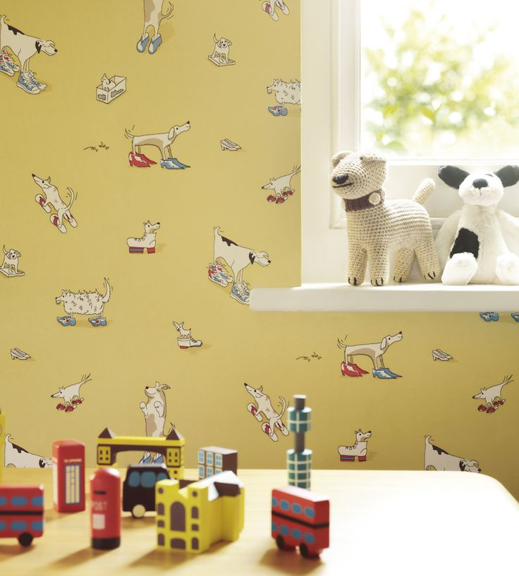 How to Style | Boys Rooms | Dogs in Clogs Wallpaper by Sanderson | Jane Clayton