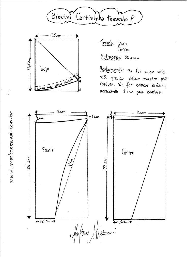 Esquema de modelagem de Biquini Cortininha tamanho  P.