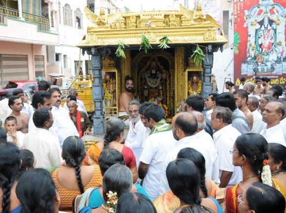 TTD, Endowments Department hold 'shobha yatra' - The procession that began at Ratham centre on Canal Road here passed through lanes and bylanes in One Town. The Shobha yatra stopped for a while near Venkateswara Swamy temple on Brahmana veedhi in One Town. Ref: http://www.thehindu.com/news/cities/Vijayawada/article3707020.ece