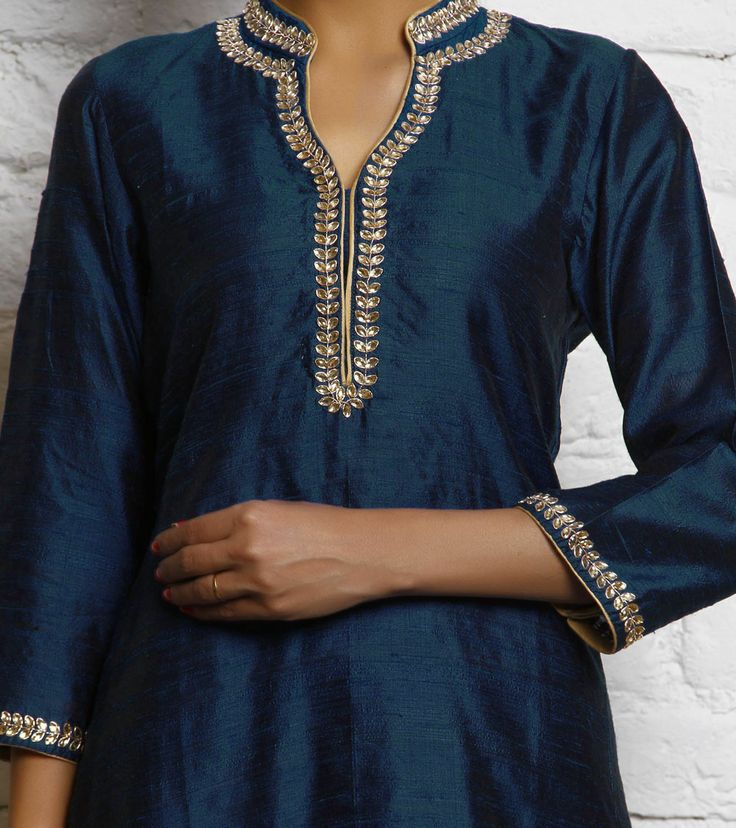 blue Raw Silk Kurta