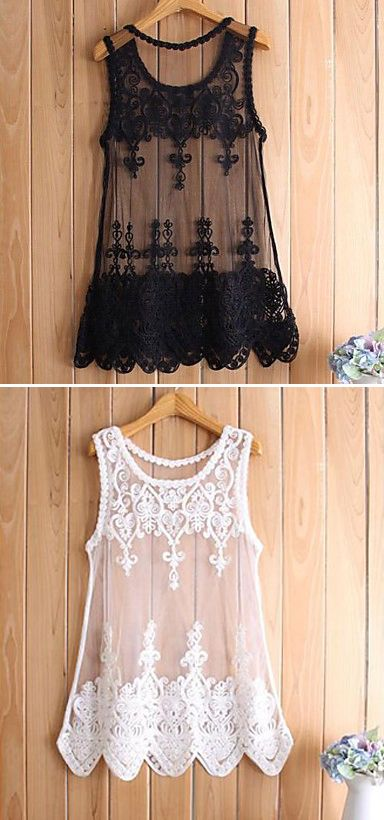 Embroidered Mesh Tank Top in Black or White