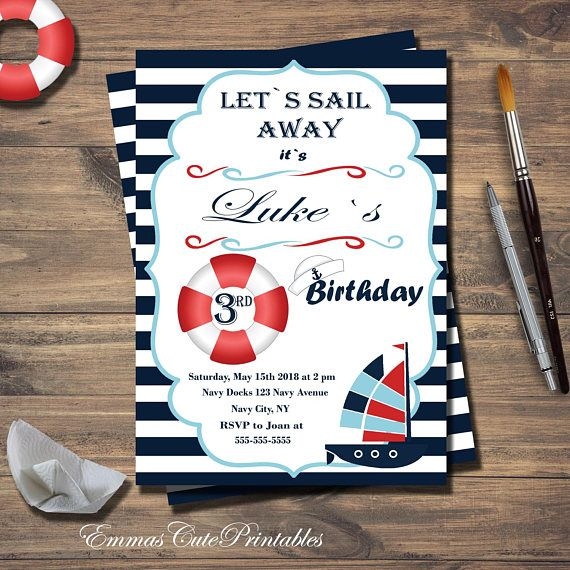 Navy Blue Sailor Birthday Party Invitation, Nautical Party, Lets sail away, 3rd birthday, printable birthday invite, lifebuoy, sailor hat  Invite your guests to your kids birthday party with this cute Nautical Lets Sail Away printable invitation - 5x7in This listing is a digital file customized with your personalized information. No printed materials will be shipped. You can print as many as you want!