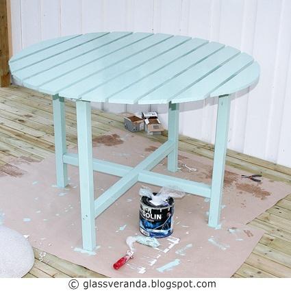 Glassveranda: DIY/gjør-det-selv/steg-for-steg-oppskrift/uterommet: Et rundt bord til fine sommerdager!