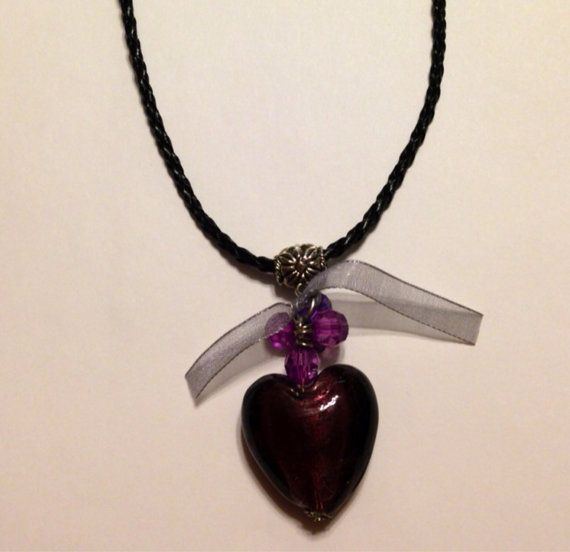 Glass Heart Necklaces on Etsy, $11.99 CAD