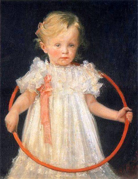 Girl with a Hoop, by Władysław Podkowiński (Polish, 1866 - 1895)