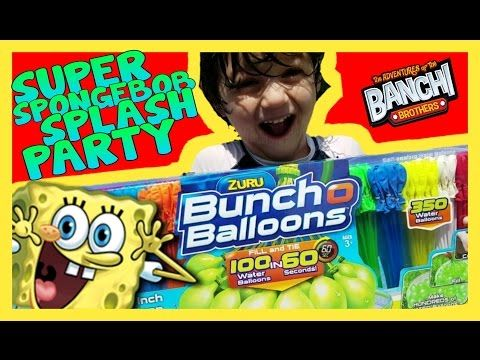 Super SpongeBob Splash Party with Zuru Buncho Balloons and Ice Cream Man|Banchi Brothers Toy Review - YouTube