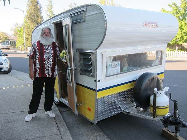Teardrop Trailer With Bathroom >> Chales Diffey in front of the restored 1966 Scotsman trailer. Might not work for full time
