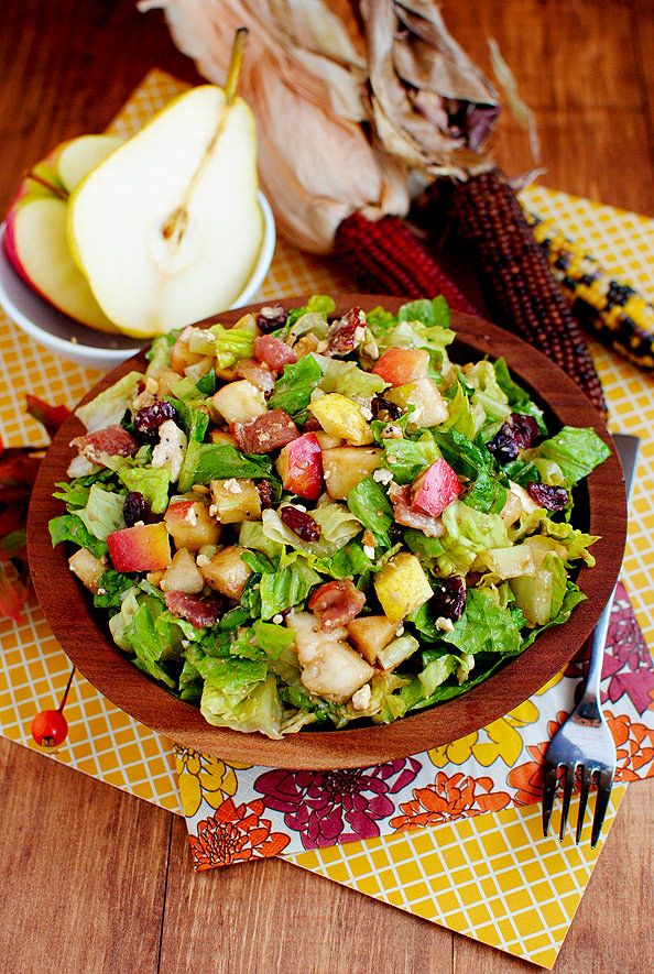 Autumn Chopped Salad highlights delicious fall flavors like pears, apples, roasted peanuts, and dried cranberries. #glutenfree @IowaGirlEats | iowagirleats.com