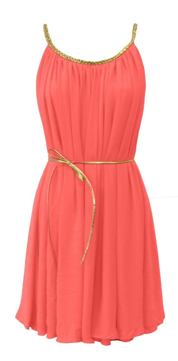 but in white Grecian dress by Jouaillerie on Etsy - Best 25+ Coral Dress Outfits Ideas On Pinterest Coral Dress