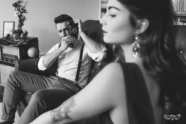 Shooting années 40 - Photo : Karolina B MUAH : Joséphine Hoy Déco : Joli coup de Pouce Fleurs: Camomille flowers Noeud Papillon : La vie élégante Modèles : Camille et Bruno - midi-pyrénées