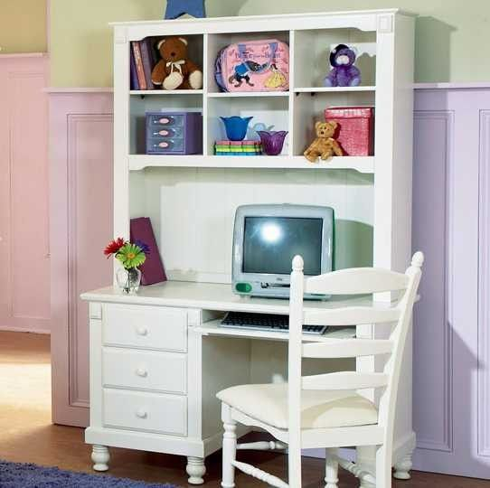 Pottery White Youth Desk W/ Hutch