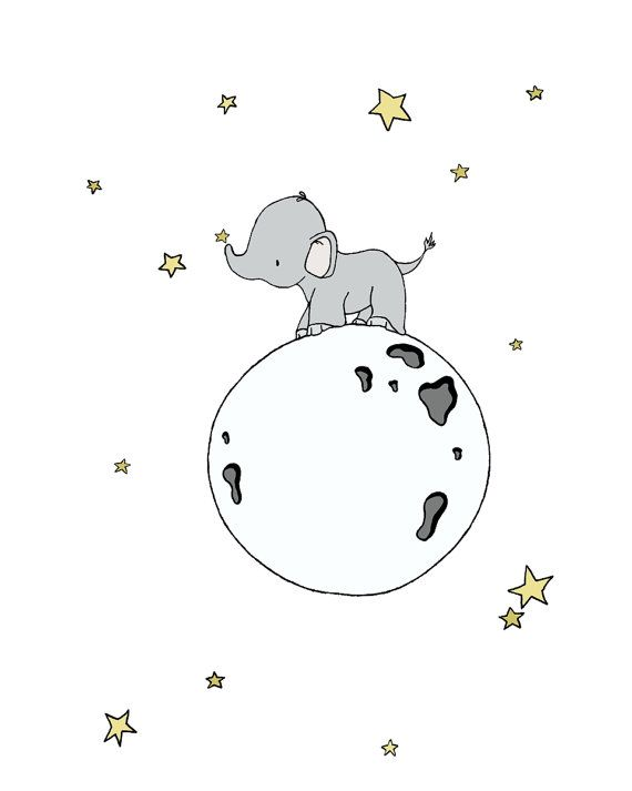 Elephant Nursery Art Print Elephant Moon от SweetMelodyDesigns