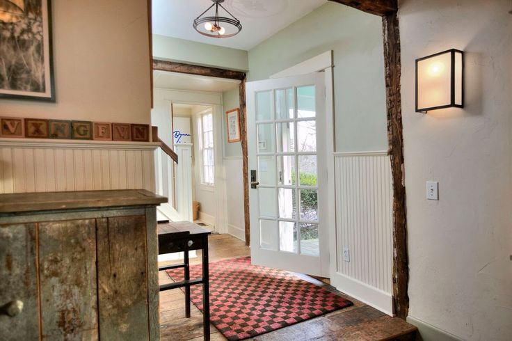 """Entryway Greens Farms Rd. House Westport CT Caldwell Banker Martin Senour """"Antique White#  paint."""