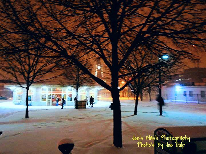 Snow falling over Belleville Ontario