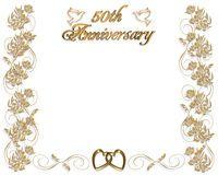 Invitación del aniversario de boda 50 años Imagen de archivo libre de regalías