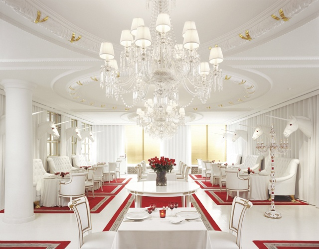 El Bistro restaurant at the Faena Hotel in Buenos Aires, Argentina, designed by Phillipe Starck