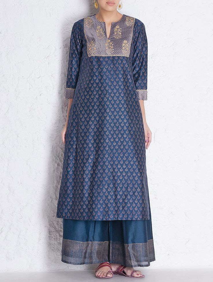 Buy Navy-Golden Khari Block Printed Brocade & Aari Embroidered Yoke Chanderi Kurta Online at Jaypore.com